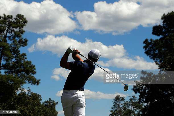 Paul Casey of England plays his shot from the ninth tee during the second round of the 2016 Masters Tournament at Augusta National Golf Club on April...