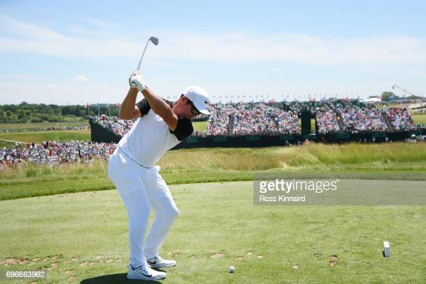 Paul Casey of England plays his shot from the ninth tee during the second round of the 2017 US Open at Erin Hills on June 16 2017 in Hartford...