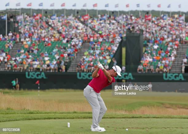 Paul Casey of England plays his shot from the ninth tee during the third round of the 2017 US Open at Erin Hills on June 17 2017 in Hartford Wisconsin