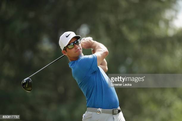 Paul Casey of England plays his shot from the ninth tee during the third round of the 2017 PGA Championship at Quail Hollow Club on August 12 2017 in...