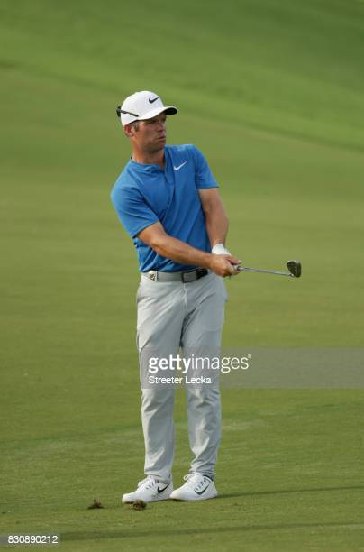 Paul Casey of England plays his shot on the 16th hole during the third round of the 2017 PGA Championship at Quail Hollow Club on August 12 2017 in...