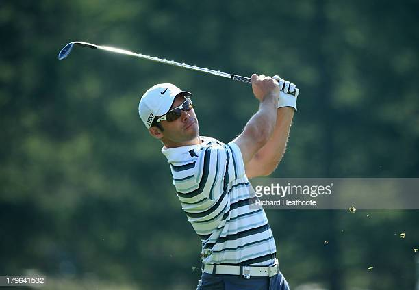 Paul Casey of England plays into the 17th green during the second round of the Omega European Masters at the CranssurSierre Golf Club on September 6...