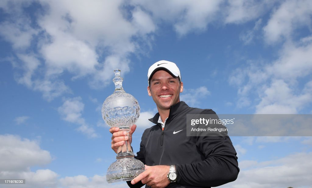 Paul Casey of England poses with the trophy after winning the Irish Open at Carton House Golf Club on June 30, 2013 in Maynooth, Ireland.