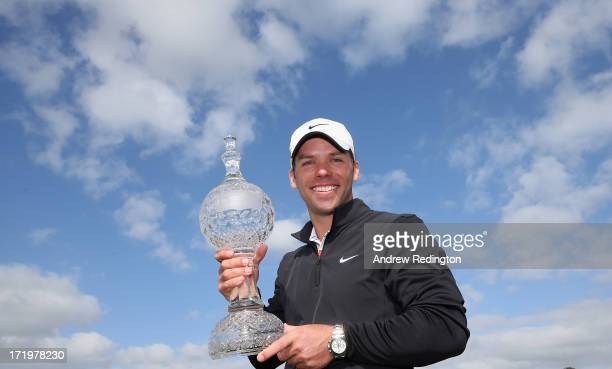 Paul Casey of England poses with the trophy after winning the Irish Open at Carton House Golf Club on June 30 2013 in Maynooth Ireland