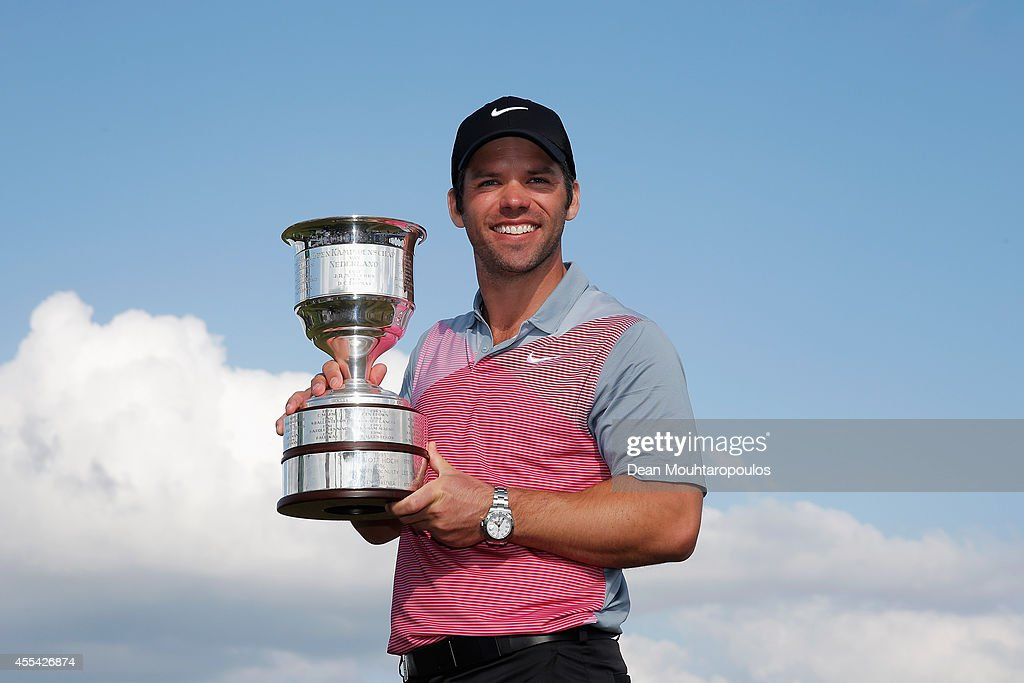<a gi-track='captionPersonalityLinkClicked' href=/galleries/search?phrase=Paul+Casey&family=editorial&specificpeople=198895 ng-click='$event.stopPropagation()'>Paul Casey</a> of England poses with the trophy after winning the KLM Open held at De Kennemer Golf and Country Club on September 14, 2014 in Zandvoort, Netherlands.