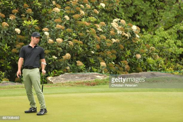 Paul Casey of England reacts after putting on the 3rd hole of his match during round three of the World Golf ChampionshipsDell Technologies Match...