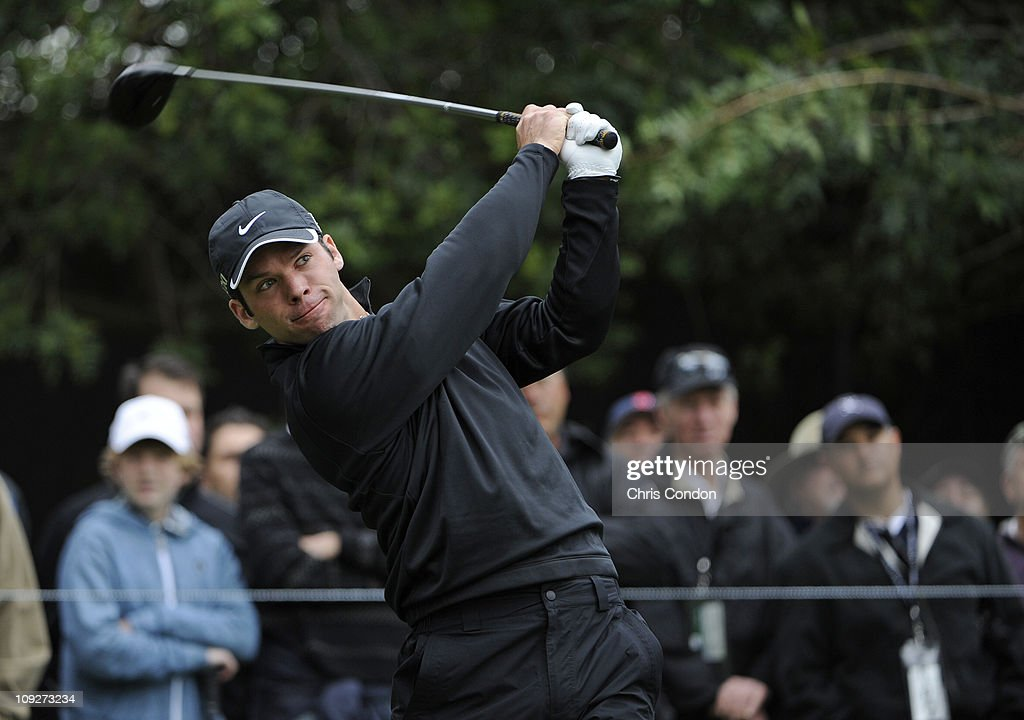 Paul Casey of England tees off on the 11th hole during the second round of the Northern Trust Open at Riviera Country Club on February 18, 2011 in Pacific Palisades, California.
