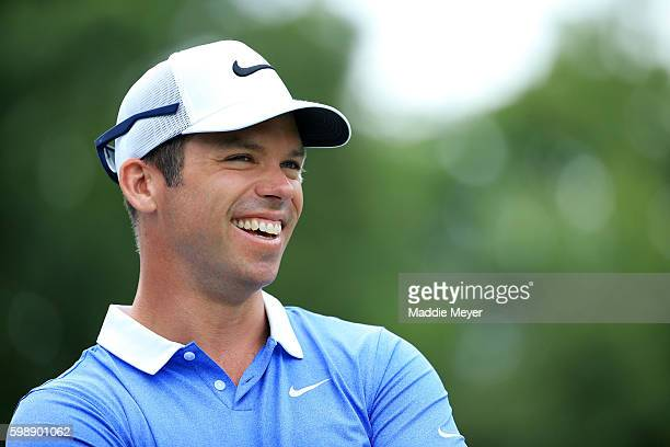 Paul Casey of England waits on the tenth tee during the second round of the Deutsche Bank Championship at TPC Boston on September 3 2016 in Norton...