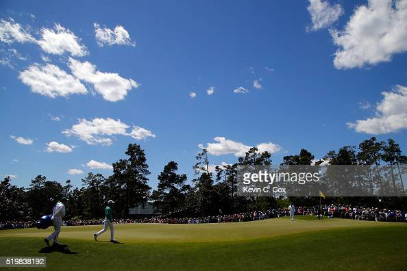 Paul Casey of England walks on the first green during the second round of the 2016 Masters Tournament at Augusta National Golf Club on April 8 2016...