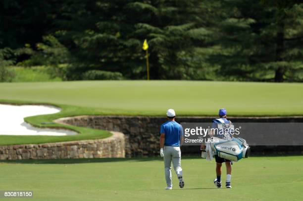 Paul Casey of England walks up the seventh fairway during the third round of the 2017 PGA Championship at Quail Hollow Club on August 12 2017 in...