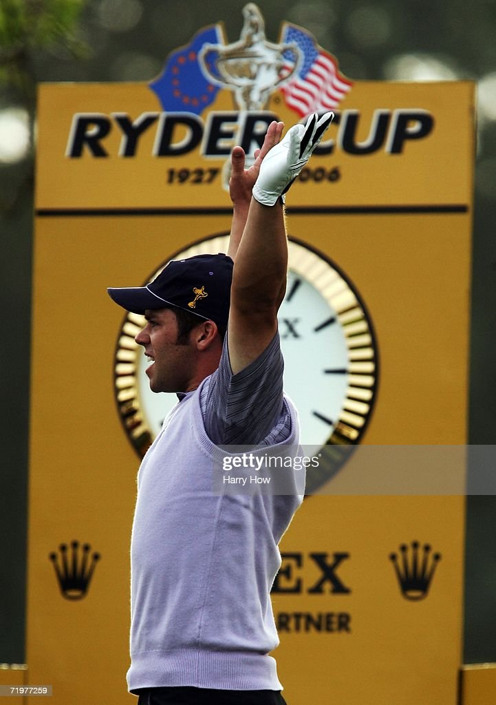 Paul Casey of Europe celebrates his hole in one on the 14th hole during the afternoon foursomes on the second day of the 2006 Ryder Cup at The K Club on September 23, 2006 in Straffan, Co. Kildare, Ireland.