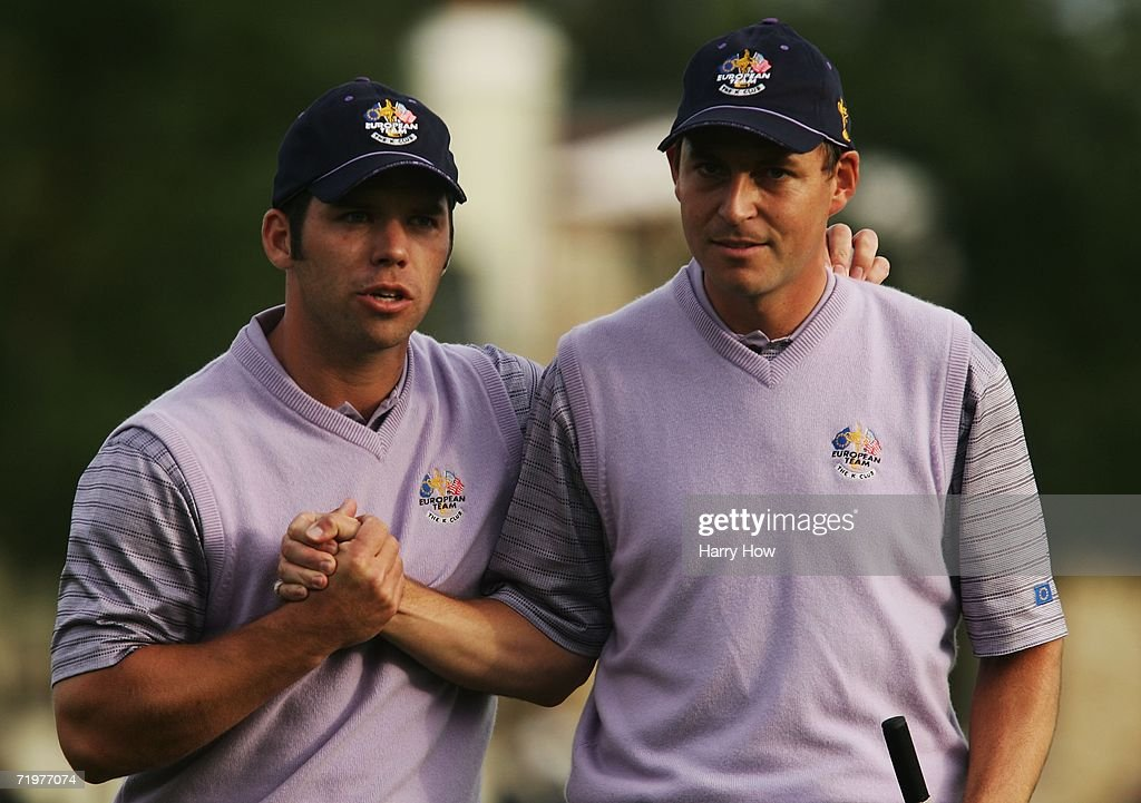 Paul Casey (L) of Europe celebrates holing his putt to halve the 13th hole with team mate David Howell during the afternoon foursomes on the second day of the 2006 Ryder Cup at The K Club on September 23, 2006 in Straffan, Co. Kildare, Ireland.