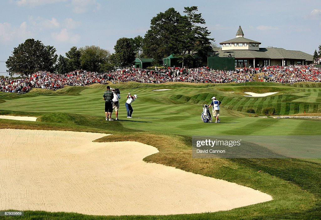 Paul Casey of the European team hits his approach on the 18th hole during the singles matches on the final day of the 2008 Ryder Cup at Valhalla Golf...