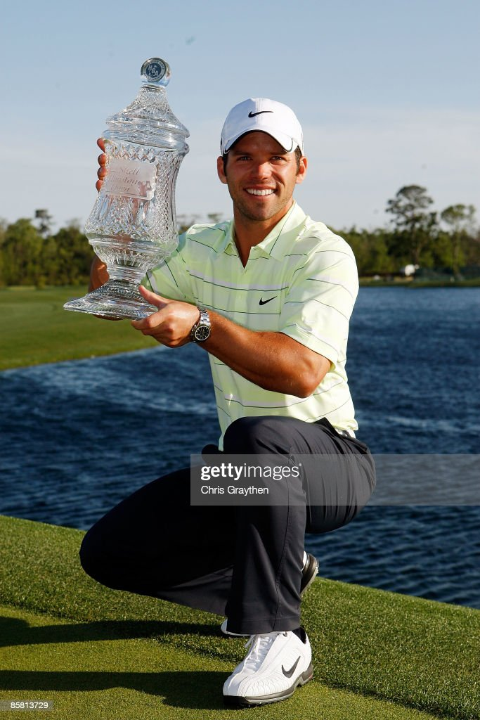 Paul Casey of the UK holds the winner's trophy after the final round of the Shell Houston Open on April 5 2009 at Redstone Golf Club in Humble Texas