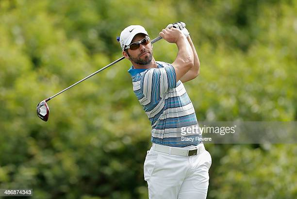 Paul Casey tees off on the 2nd during Round Three of the Zurich Classic of New Orleans at TPC Louisiana on April 26 2014 in Avondale Louisiana