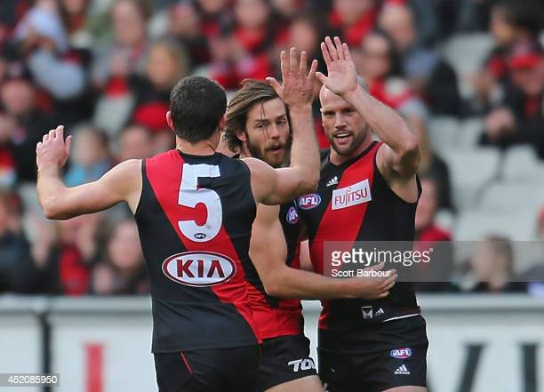 Paul Chapman of the Bombers celebrates after kicking a goal during the round 17 AFL match between the Essendon Bombers and the Collingwood Magpies at...