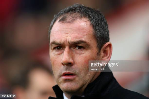 Paul Clemen Manager of Swansea City looks on prior to the Premier League match between AFC Bournemouth and Swansea City at Vitality Stadium on March...