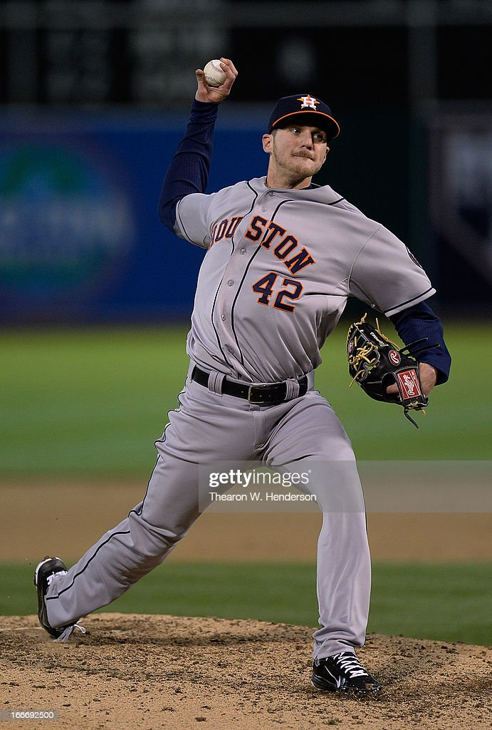 Paul Clemens of the Houston Astros pitches against the Oakland Athletics in the fifth inning at O.co Coliseum on April 15, 2013 in Oakland, California. All uniformed team members are wearing jersey number 42 in honor of Jackie Robinson Day.