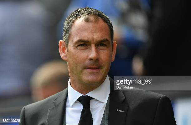 Paul Clement anager of Swansea City looks on prior to the Premier League match between Swansea City and Manchester United at Liberty Stadium on...