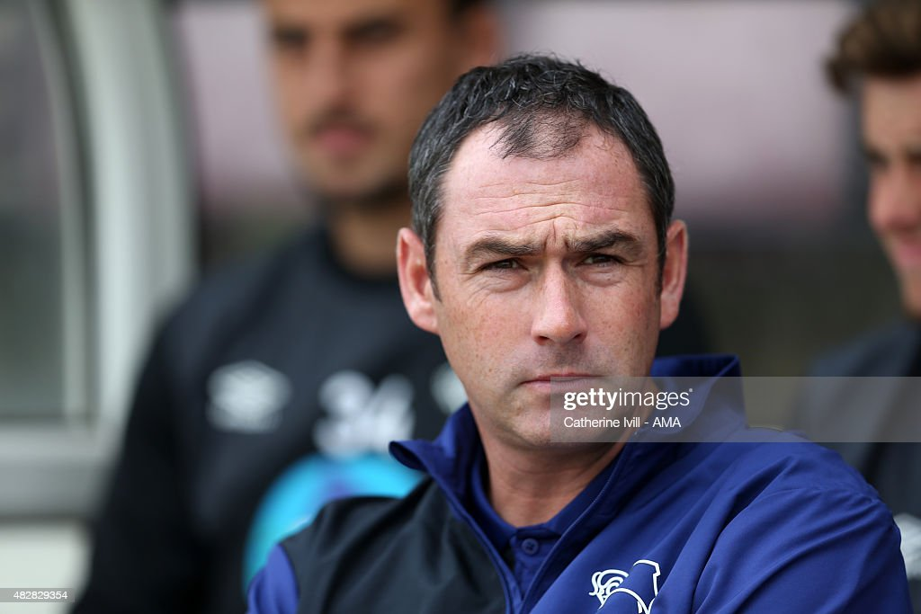 Paul Clement Manager of Derby County during the pre-season friendly between Northampton Town and Derby County at Sixfields on July 18, 2015 in Northampton, England.