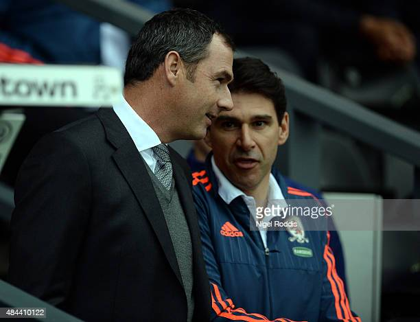 Paul Clement manager of Derby County speaks with Aitor Karanka manager of Middlesbrough during the Sky Bet Championship match between Derby County...