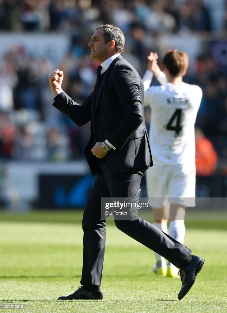 Paul Clement, Manager of Swansea City celebrates during the Premier League match between Swansea City and Stoke City at the Liberty Stadium on April 22, 2017 in Swansea, Wales.