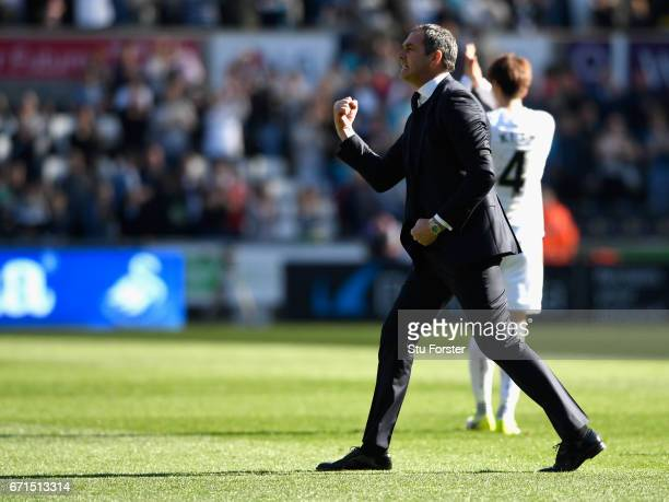 Paul Clement Manager of Swansea City celebrates during the Premier League match between Swansea City and Stoke City at the Liberty Stadium on April...