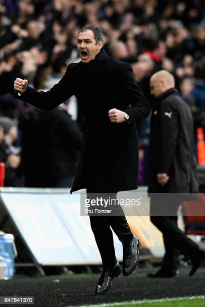 Paul Clement Manager of Swansea City celebrates his side second goal during the Premier League match between Swansea City and Burnley at Liberty...
