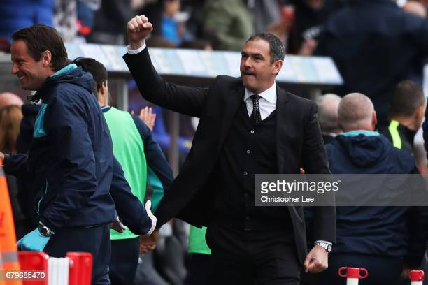 Paul Clement Manager of Swansea City celebrates his sides first goal during the Premier League match between Swansea City and Everton at the Liberty...