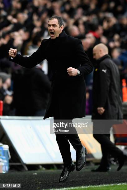 Paul Clement Manager of Swansea City celebrates his sides second goal during the Premier League match between Swansea City and Burnley at Liberty...