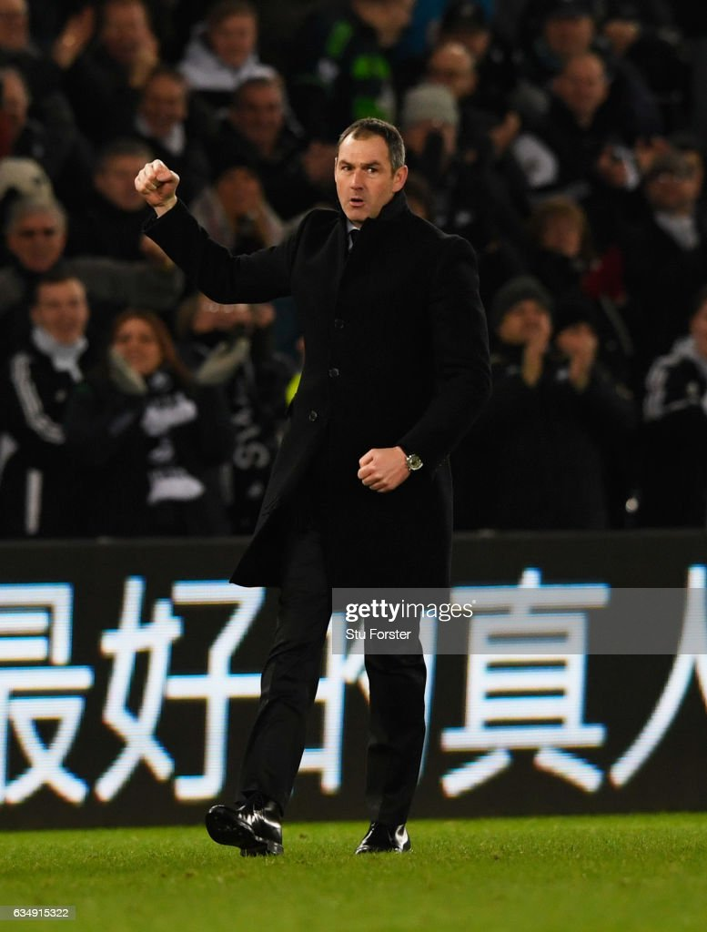 Paul Clement manager of Swansea City celebrates victory after the Premier League match between Swansea City and Leicester City at Liberty Stadium on February 12, 2017 in Swansea, Wales.