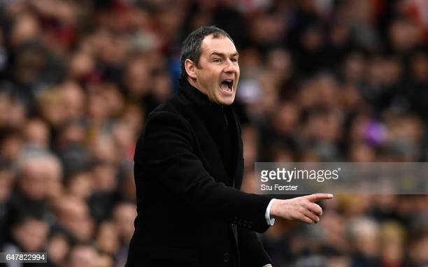 Paul Clement Manager of Swansea City gives his team instructions during the Premier League match between Swansea City and Burnley at Liberty Stadium...