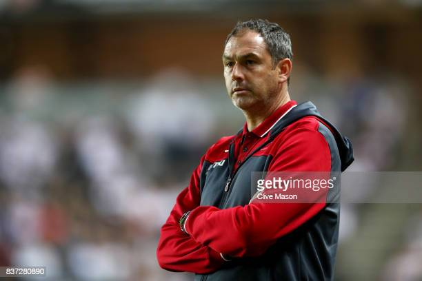 Paul Clement Manager of Swansea City looks on during the Carabao Cup Second Round match between Milton Keynes Dons and Swansea City at StadiumMK on...