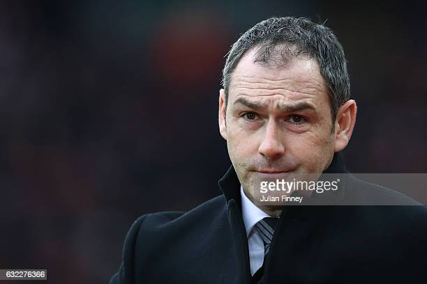 Paul Clement Manager of Swansea City looks on during the Premier League match between Liverpool and Swansea City at Anfield on January 21 2017 in...