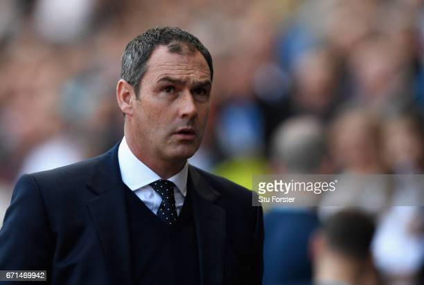 Paul Clement Manager of Swansea City looks on during the Premier League match between Swansea City and Stoke City at the Liberty Stadium on April 22...