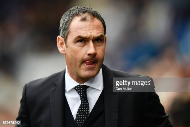 Paul Clement Manager of Swansea City looks on during the Premier League match between Swansea City and Everton at the Liberty Stadium on May 6 2017...