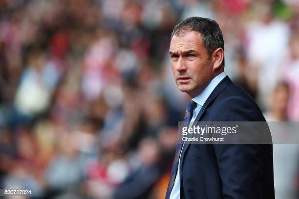 Paul Clement Manager of Swansea City looks on during the Premier League match between Southampton and Swansea City at St Mary's Stadium on August 12...
