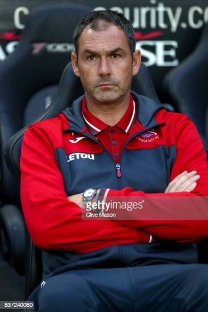 Paul Clement Manager of Swansea City looks on prior to the Carabao Cup Second Round match between Milton Keynes Dons and Swansea City at StadiumMK on...
