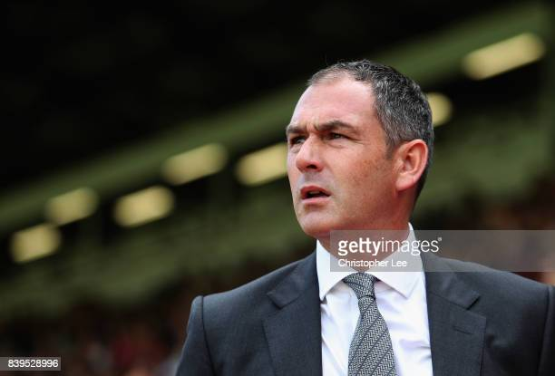 Paul Clement Manager of Swansea City looks on prior to the Premier League match between Crystal Palace and Swansea City at Selhurst Park on August 26...