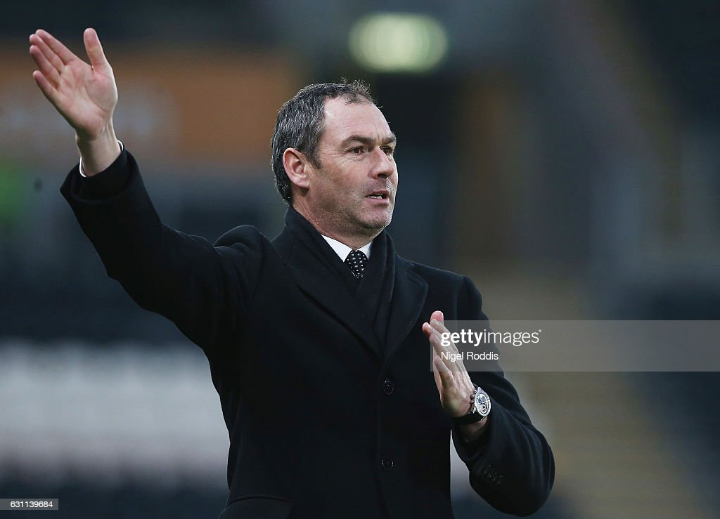 Paul Clement, Manager of Swansea City reacts during the Emirates FA Cup third round match between Hull City and Swansea City at KCOM Stadium on January 7, 2017 in Hull, England.