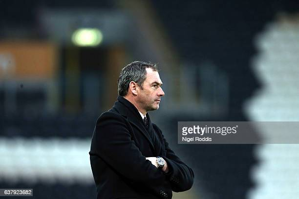 Paul Clement Manager of Swansea City reacts during the Emirates FA Cup third round match between Hull City and Swansea City at KCOM Stadium on...
