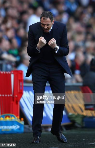Paul Clement Manager of Swansea City reacts during the Premier League match between Swansea City and Stoke City at the Liberty Stadium on April 22...