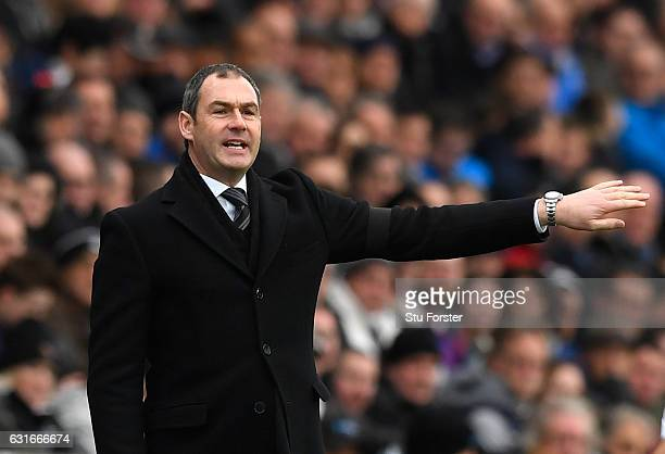 Paul Clement manager of Swansea City signals during the Premier League match between Swansea City and Arsenal at Liberty Stadium on January 14 2017...