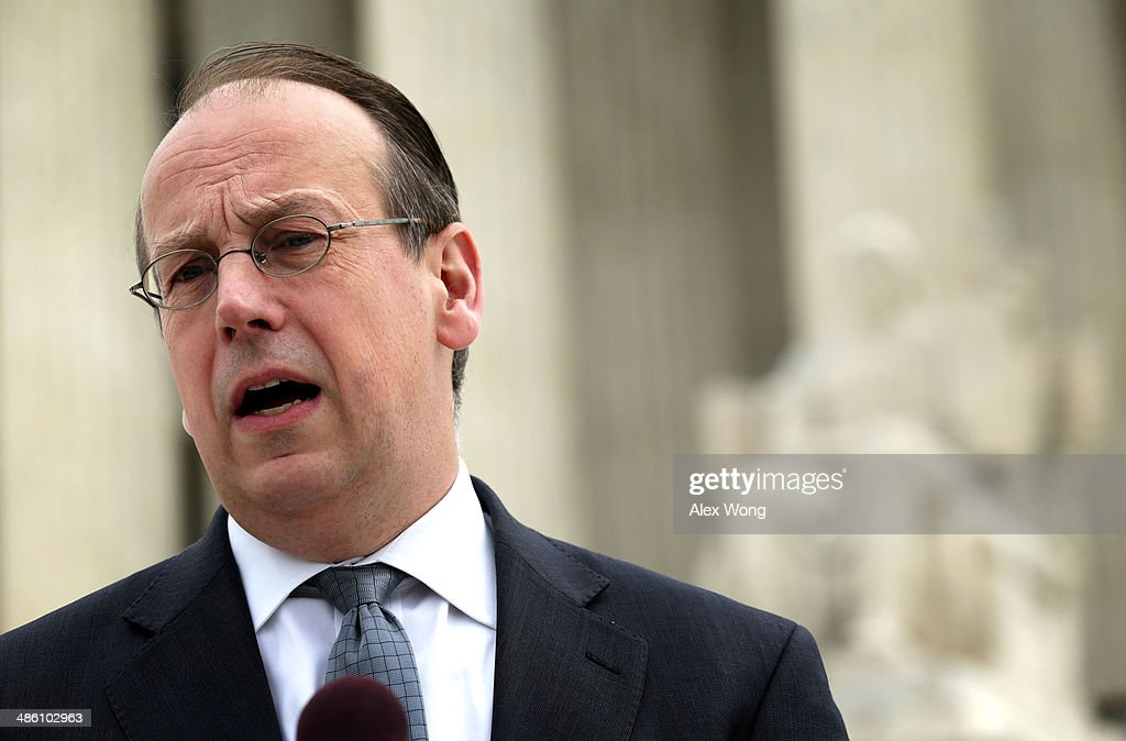 Paul Clement, the attorney for the broadcasters, speaks to members of the media in front of the U.S. Supreme Court after oral arguments April 22, 2014 in Washington, DC. The Supreme Court heard arguments in a case against Aereo on the companys profiting from rebroadcasting network TVs programs obtained from public airwaves.