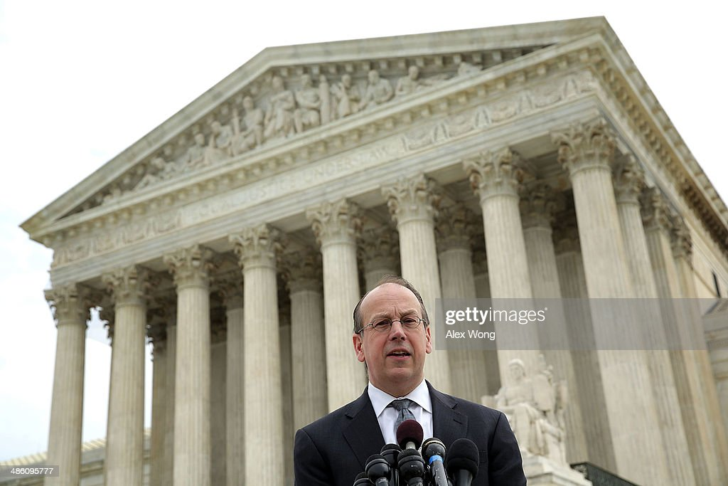 Paul Clement, the attorney for the television broadcasters, speaks to members of the media in front of the U.S. Supreme Court after oral arguments April 22, 2014 in Washington, DC. The Supreme Court heard arguments in a case against Aereo on the companys profiting from rebroadcasting network TVs programs obtained from public airwaves.
