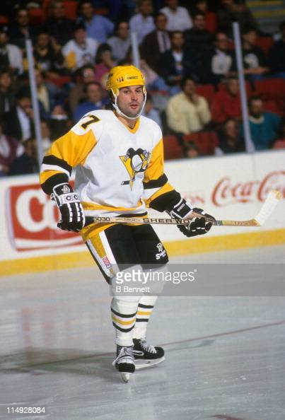 Paul Coffey of the Pittsburgh Penguins skates on the ice during an NHL game in December 1991 at the Mellon Arena in Pittsburgh Pennsylvania