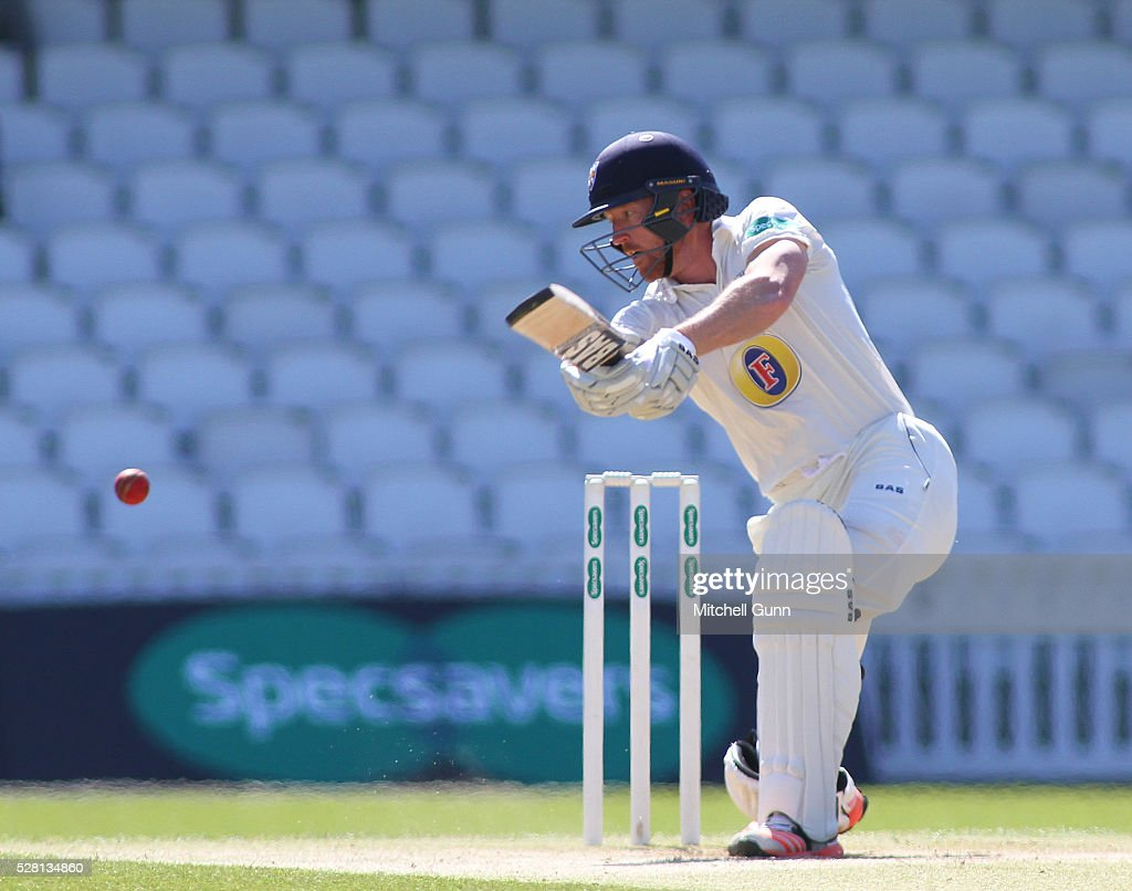 Paul Colingwood of Durham plays a shot during the Specsavers County Championship Division One match between Surrey and Durham at the Kia Oval Cricket Ground, on May 04, 2016 in London, England.