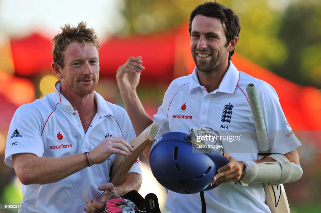 Paul Collingwood and Graham Onions walk off after drawing on day 5 of the 1st Test match between South Africa and England from Supersport Park on...