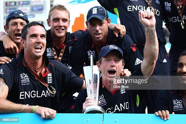 Paul Collingwood and the England team celebrate with the series trophy after winning the final of the ICC World Twenty20 between Australia and...