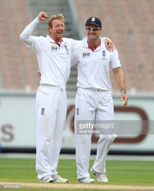 Paul Collingwood celebrates with Andrew Strauss of England after dismissing Ryan Carters of Victoria on during day two of the Tour Match btween the...